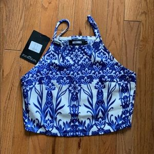 MissGuided Open Back Crop Top with Blue Pattern